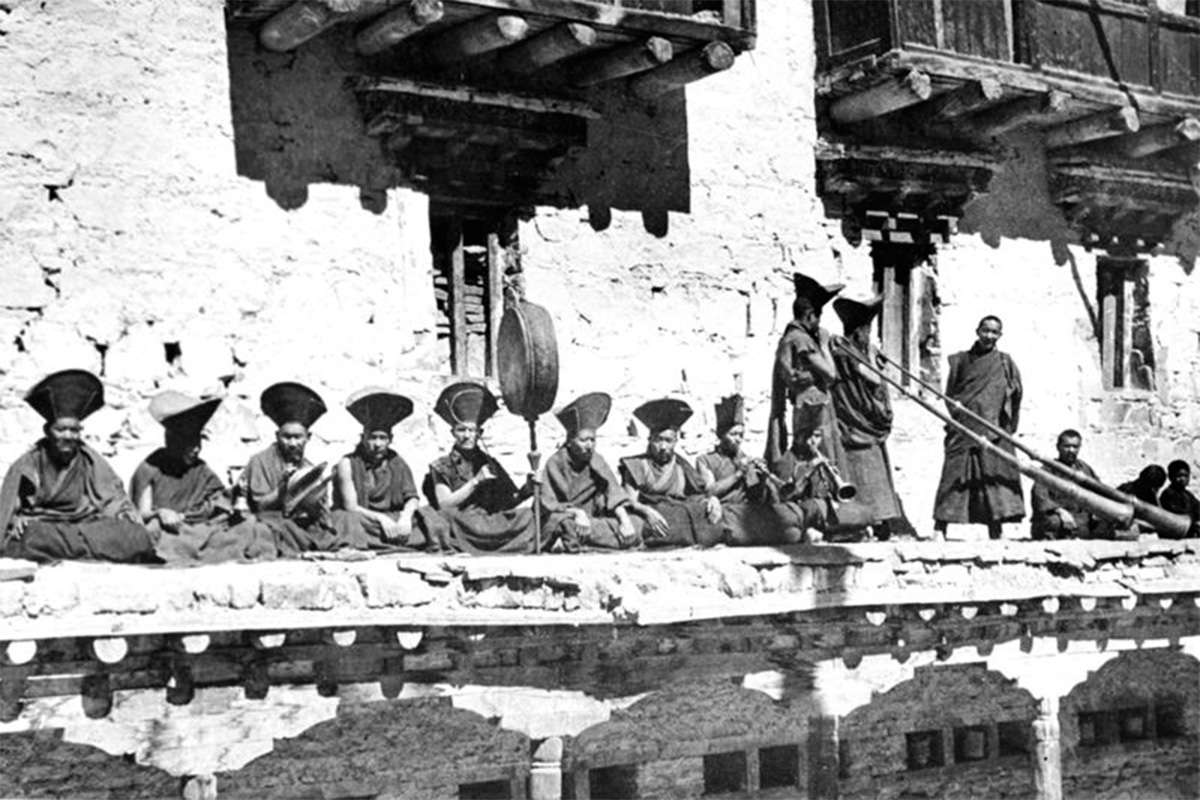 Traditional instruments used to accompany dance (Tibet, 1949)