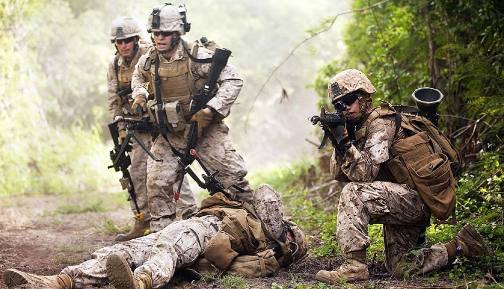 Heavily armed insurgents attacked U.S. Marines